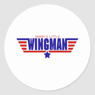 Daddys Little Wingman Classic Round Sticker