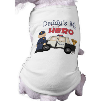 Daddy's My Hero Policeman Pet T Shirt
