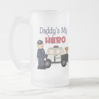 Daddy's My Hero Policeman Frosted Glass Beer Mug