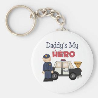 Daddy's My Hero Policeman Keychains