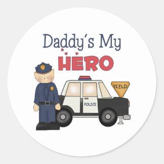 Daddy's My Hero Policeman Round Sticker