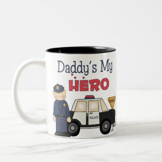 Daddy's My Hero Policeman Two-Tone Coffee Mug
