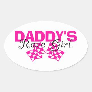 Daddy's Race Girl Oval Sticker