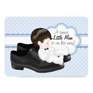 Daddys Shoes Little Man Baby Shower 4.5x6.25 Paper Invitation Card