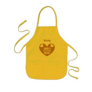 Daddy's Super Helper Custom Name GOLD Heart V06A Kids' Apron