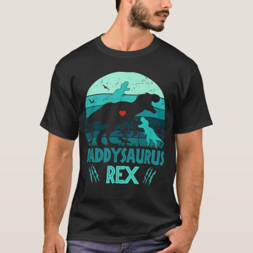 Daddysaurus Rex 2 Kids Vintage Fathers Day Gifts T_Shirt