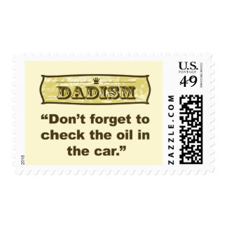 Dadism- Don't forget to check the oil! Postage Stamp