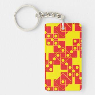 Dados amarillos llavero rectangular acrílico a doble cara