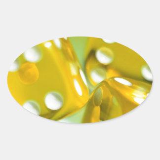 Dados amarillos pegatina ovalada