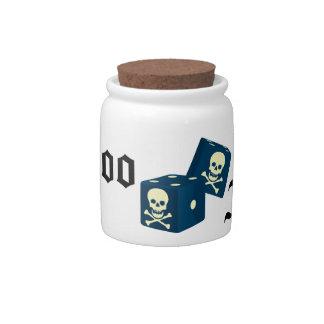 Dados azules de la muerte del fondo del tatuaje tarro de cerámica para dulces