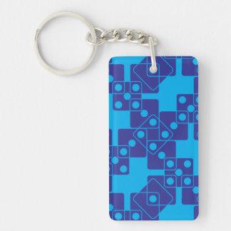 Dados azules llavero rectangular acrílico a doble cara