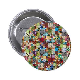 Dados coloridos pin redondo 5 cm