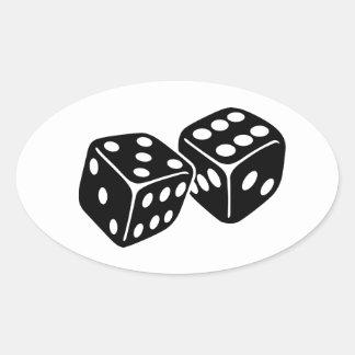 Dados de juego pegatina ovalada