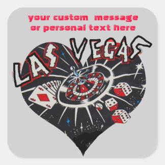 Dados de Las Vegas y corazón de los juegos de Calcomania Cuadradas