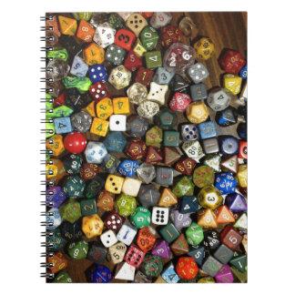 Dados del juego del RPG Cuadernos