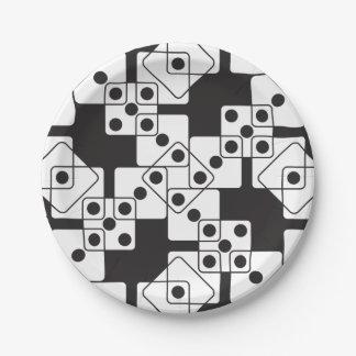 Dados negros plato de papel de 7 pulgadas
