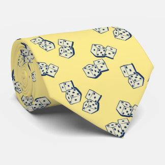 Dados que caen que juegan bilateral amarillo corbatas personalizadas