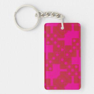 Dados rosados llavero rectangular acrílico a doble cara