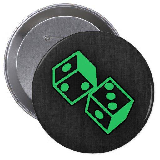 Dados verdes del casino de Kelly Pin Redondo De 4 Pulgadas