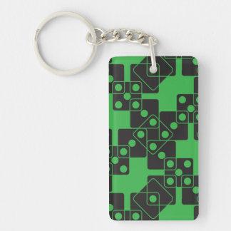 Dados verdes llavero rectangular acrílico a doble cara
