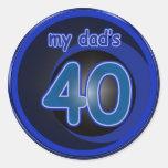 Dad's 40th Birthday Classic Round Sticker