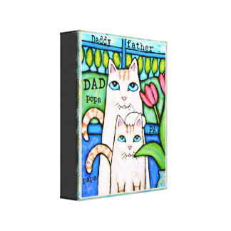 Dads and Sons Love Cat Wrapped Canvas Canvas Print