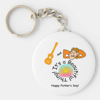 Dads and Ukes: It's a Beautiful Thing! Basic Round Button Keychain