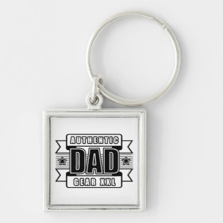 Dads Authentic Father Gear Silver-Colored Square Keychain