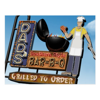 Dad's Bar-B-Q Retro Neon Sign Postcard