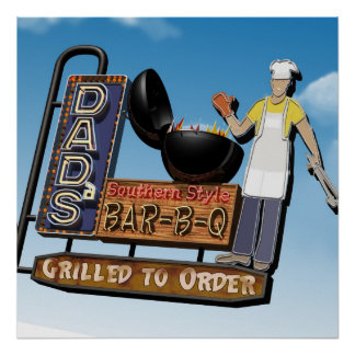 Dad's Bar-B-Q Retro Poster