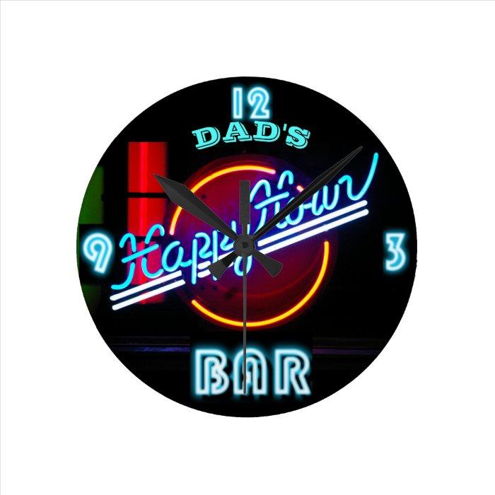 DAD'S BAR, MANCAVE, DEN - Neon Clock Customizable