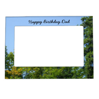 Dad's Birthday-Blue Sky and Autumn Trees Magnetic Frame