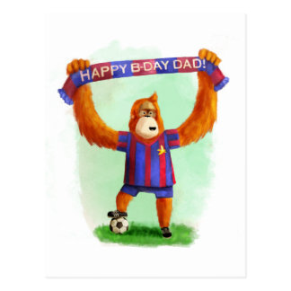 Dad's Birthday Football Orangutan Postcard