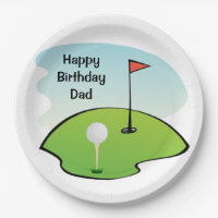 Dads' Birthday - Golf Paper Party Plates