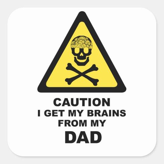 dads brains square sticker
