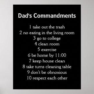 Dad's Commandments Poster