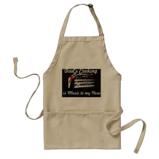 Dad's Cooking is Music Apron, Tan Adult Apron