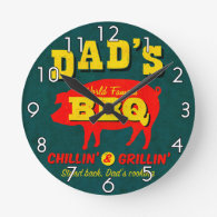 Dad's Cooking Round Wall Clocks