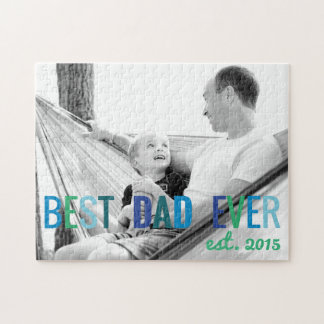 Dads Custom Photo Best Dad Ever with Year Father's Jigsaw Puzzle