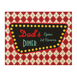 Dad's Diner Father's Day Wood Canvas Gift