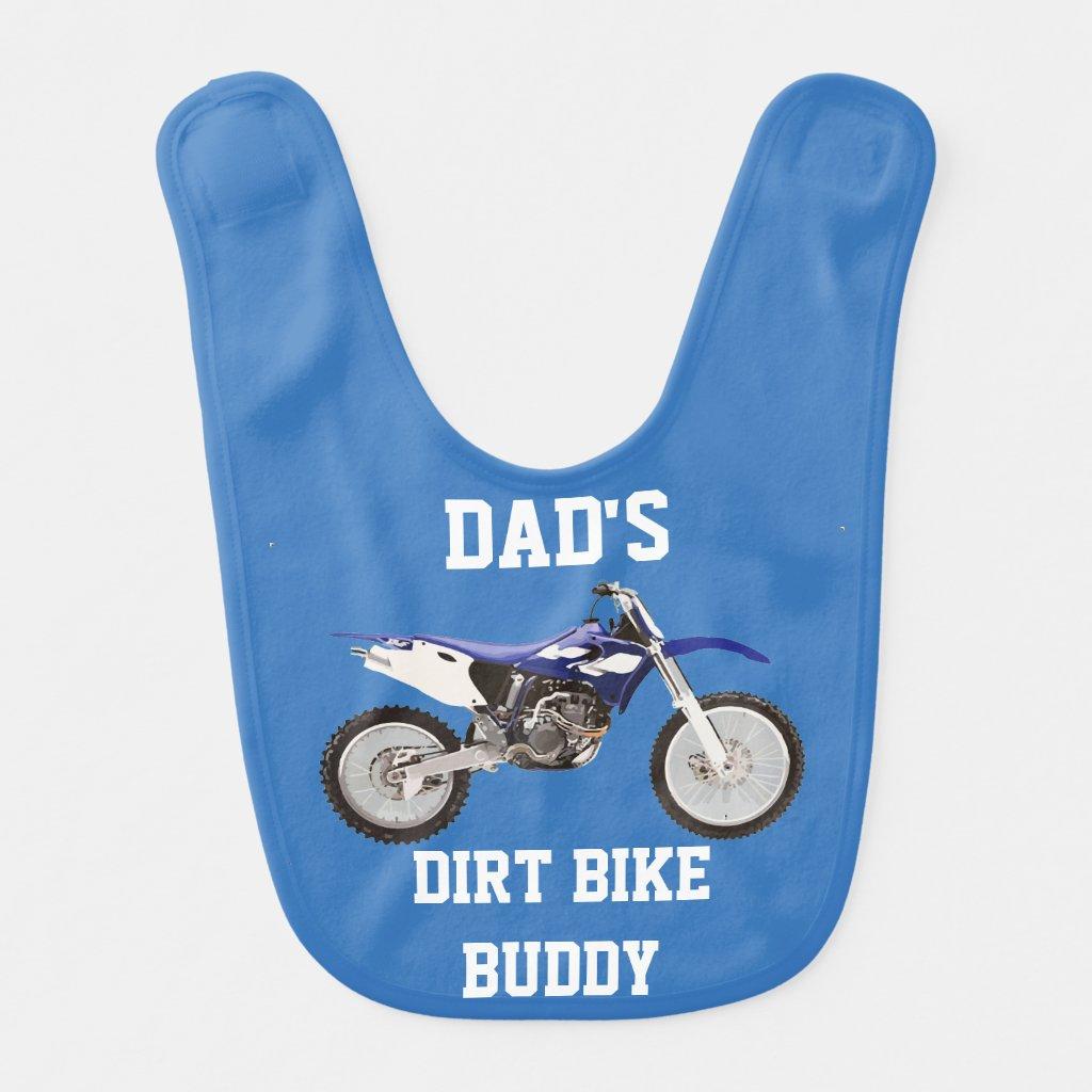 Dad's Dirt Bike Buddy Blue Baby Bib