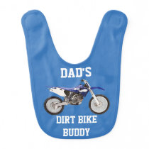 Dad's Dirt Bike Buddy Blue Baby Bib