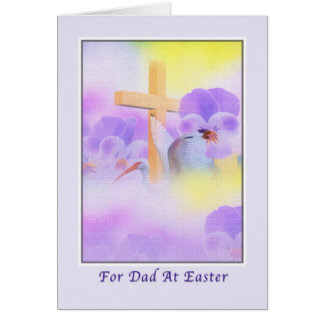 Dad's Easter Card with Flowers and Cross