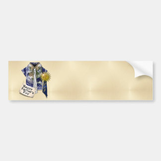 Dads Favorite Earth Shirt with #1 Ribbon on Gold Car Bumper Sticker