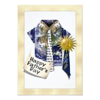 Dads Favorite Earth Shirt with #1 Ribbon on Gold Card