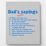 Dad's favorite sayings display plaques