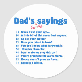 Dads favorite sayings sticker