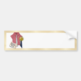 Dad's Favorite Shirt with #1 Ribbon w/Gold Backing Car Bumper Sticker
