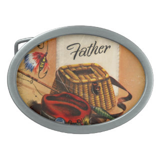 Dad's Fishing Tackle and Bait Oval Belt Buckle