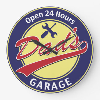 Dad's Garage Large Clock